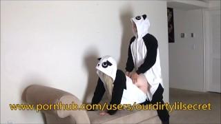 Just two Horny sexy Pandas.....- Ourdirtylilsecret  pandastyle ourdirtylilsecret moan blonde amature fuck cumming amateurs girls costume panda verified bear bent onesie pajamas