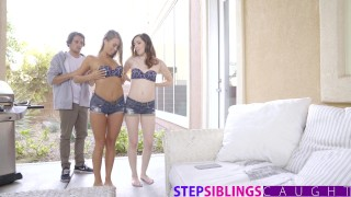 StepSiblingsCaught - My Bratty Step Sisters Just Want To Fuck!  fucks riding step redhead siblings threeway cumshot skinny sister young babes brother doggystyle stone ember stepsiblingscaught