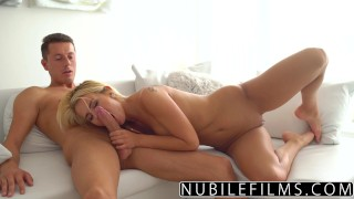 NubileFilms - Sexy Blonde Fucks Sisters Boyfriend  riding babe nubilefilms blonde blowjob cumshot young petite shaved bigcock facial aisha for women