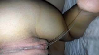 Sucking cock makes dripping wet pussy drool grool