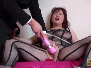 Deepthroated brit slut masturbating