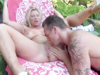 Teen fucked up facial curvy blonde milf devon lee gets oiled up and fucked by the pool combat