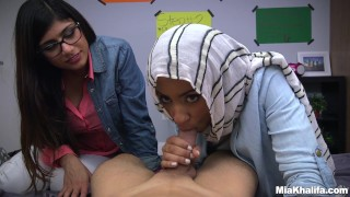Her with mia arab blowjob friend mk and lessons khalifa mia glasses