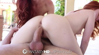 FantasyHD Two sexy redheads share the cock while playing twister