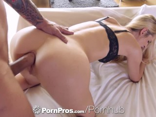 PORNPROS Lean Brooke Logan shoves objects in her ass before guys dick