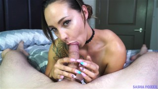 Draining those balls  ball licking cock sucking edging brunette mark rockwell the pose point of view sasha foxxx big load big cock blowjob big dick