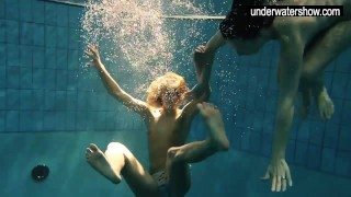 Two sexy amateurs showing their bodies off under water porno