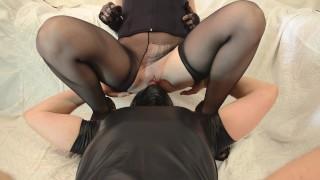 Nylon pantyhose facesitting and pussy licking orgasm