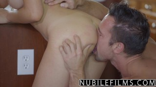 NubileFilms - Hot Daughter Fucks Moms Boyfriend nubilefilms young hardcore melissa-moore blowjob riding babe cumshot natural-tits cock-sucking brunette big-dick titty-fuck busty doggystyle