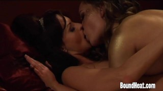 Enslaved Girl Pleasures Madame With Strapon And Fingers  strapon slave femdom lezdom kink lesbian boundheat girl-on-girl butt european mistress orgasm lesbian orgasm lesbian sex lesbian strapon