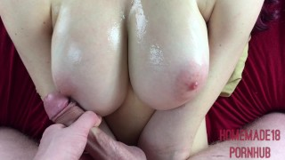 Preview 4 of Oiled 18 Year Old Gets Titty Fucked And Jizzed On
