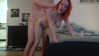 Redhead with big tits gets fucked hard and creampied by BF Butt homemade