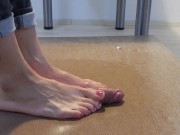 Purple toenails cockcrush dancing with big cumshot