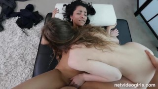 Natural Beauty Has Squirting Orgasms At What She Thought Was Job Interview audition 3some pussy-eating hardcore amateur squirting choking hairy-pussy natural-tits big-boobs orgasm netvideogirls exotic casting doggystyle real orgasm