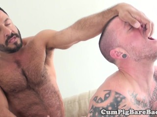 Bottom barebacked by bear while jerking