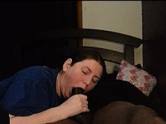 thick amazon gives wild blowjob to bbc boyfriend on niece's bed