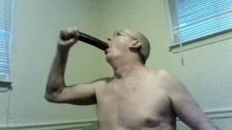 old man gagging on his dildo