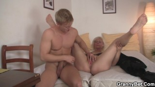 Doggy fucking old blonde woman