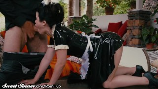 Little Latex Maid Submits to Her Master