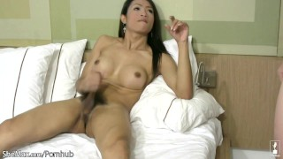 Cum ts and mouth on asian boobs her load huge fucking enjoys ladyboyplayer big