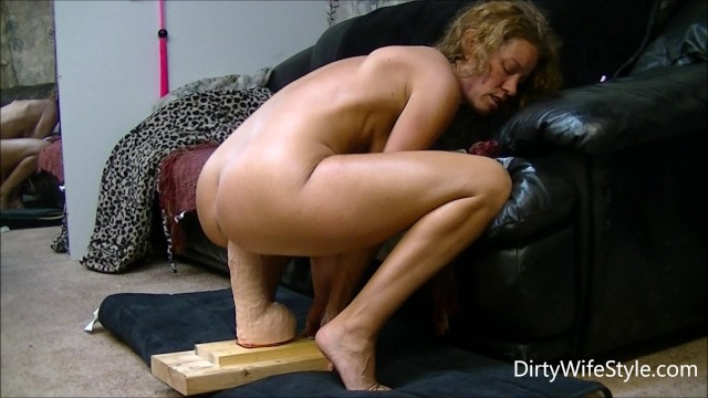 Wife fucks a monster Horny babe rides and fucks a brutal monster dildo to make her pussy happy