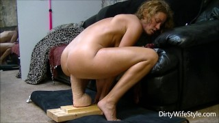 Horny babe rides and fucks a brutal monster dildo to make her pussy happy  ass riding dildo ride huge wife masturbate hot big milf monster dildo feet adult toys brutal dildo