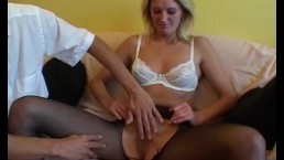Milf Blonde Fingered And Fucked in Sexy Stockings