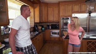 Preview 2 of Petite Teen Bailey Brooke's Home Alone with Her Daddy's Friend