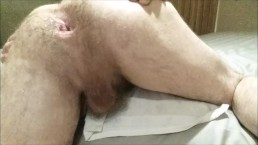 Painful anal, ass to mouth, anal gaping, big glass dildo fucks straight guy