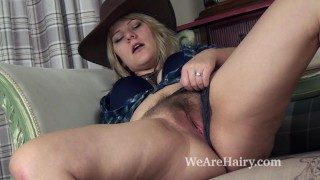 Jodie Dallas explores hairy pussy looking sexy