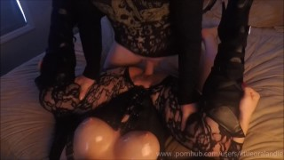 Oily Sticky Sexy Tight Pussy Grips & Oiled Up Tits Black Boots & Fishnets