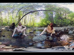 YanksVRs Ana Molly and Belle Masturbate and Cum Outside in a Creek