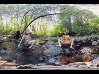YanksVR's Ana Molly and Belle Masturbate and Cum Outside in a Creek