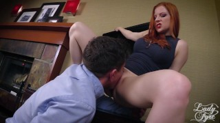 Horny Boss Makes Employee Eat ASS then Fucks him. FULL VIDEO Lady Fyre  ass eating laz fyre olivia fyre redhead mom boss domination milf kink office butt heels mother pussy eating lady fyre ass worship