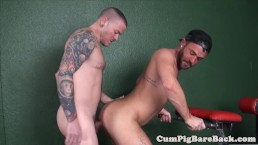 Tattooed jock barebacking tight ass after bj