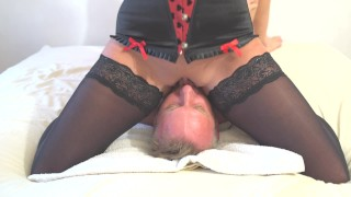 Preview 2 of Amazing squirt on mouth. Face sitting and awesone pussy riding.