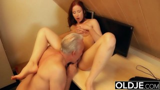 Young slut hard fucked by old horny..