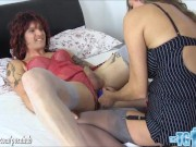 Hot Milf teases tattooed Tgirls big cock fucking her ass and making her cum