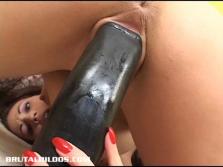 Busty brunette Layla Rivera cumming on a fat brutal dildo