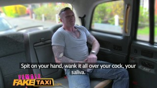 Preview 3 of Female Fake Taxi Tattooed hunk blows his big load into sexy drivers mouth