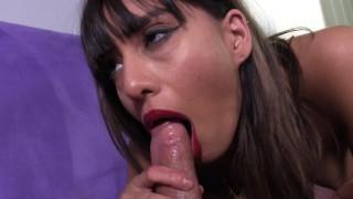 Sexy red lip deepthroating blowjob tease