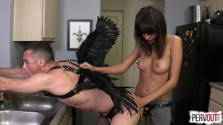 janice griffith strapon strap-on pegging lance hart leggings fucking janice pegging angel men in fishnets guy liner handjob cum-eating femdom kink sweetfemdom