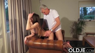 Old and Young Porn - Babysitter pussy fucked by old man and swallows cum Trimmed big