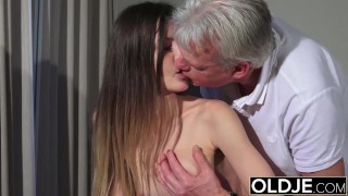 Old and Young Porn - Babysitter pussy fucked by old man and swallows cum View swallow