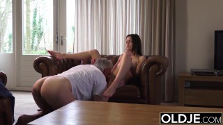 Old and Young Porn - Babysitter pussy fucked by old man and swallows cum porno