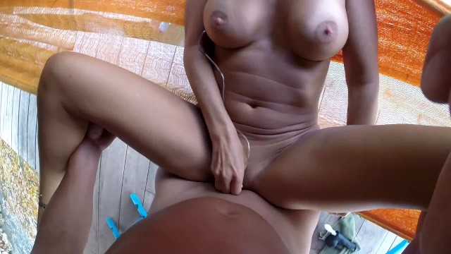 Husband and wife sexual subjection training - Hot amateur wife fucked by husband on hammock - pov
