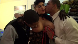 Granny goes Black Potty mouth White GILF takes 3 way BBC fuck of her life