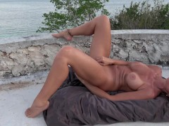 HOT WIFE MASTURBATES ON CASTLE TOP GUSHING ORGASMS