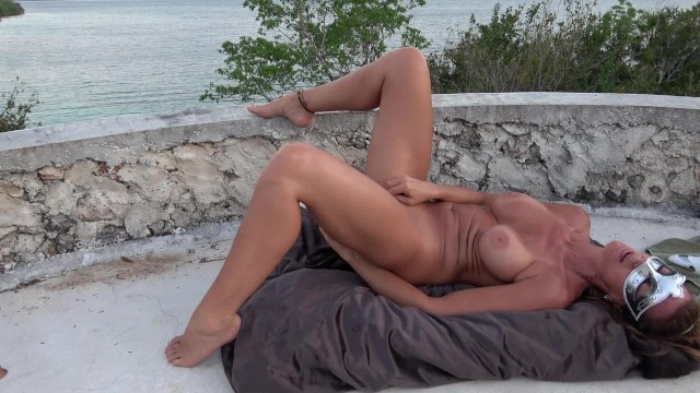Sex tanning thp Hot wife masturbates on castle top gushing orgasms