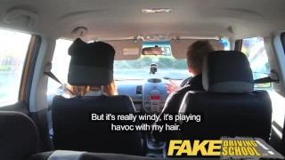 Fake Driving School Nerdy redhead teen student fucked to creampie orgasm View tits